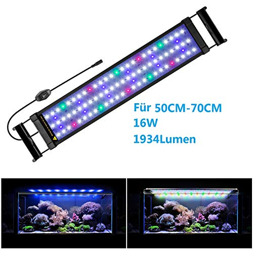FTALGS Illuminazione per Acquario,Plafoniera LED Acquario Dolce, Luce per Acquario a LED con Supporto Regolabile, Lampada LED per Acquario (50-70CM)