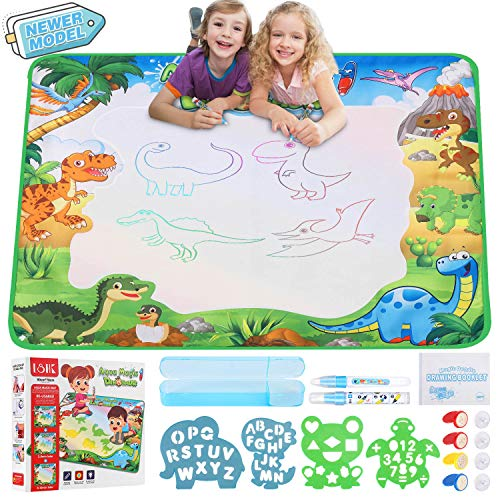 Infinno Aqua Magic Doodle Mat Water Drawing Mat Kids Painting Writing Doodle Coloring Mat Educational Toys Gifts for Kids Toddlers Boys Girls Age 2 3 4 5 6 7 8 Year Old