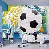 Fotomurales Papel Tapiz Mural 3D Dibujos Animados Fútbol Foto Pared Pintura Niño Dormitorio Restaurante Café Fondo Seda 350X256Cm