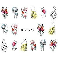 RLYBDL ラップ紙箔ヒントタトゥーマニキュアSASTZ766-778絵画ネイルパターンの1シートジュエリー花の水デカールブラックステッカー (Color : STZ771)
