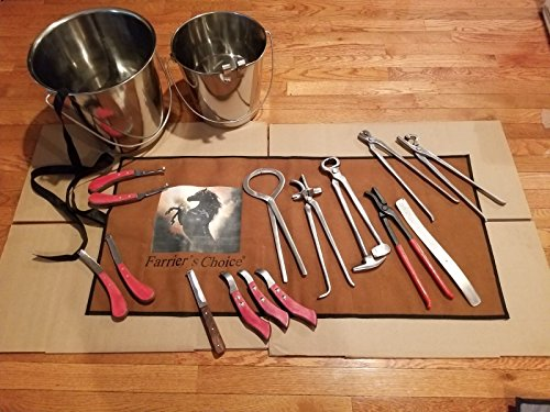 Equipment Essentials 15 Piece Farrier's Tool Kit Set Horse Hoof Nippers Clincher Tester Knife Rasp Chisel + 2 Buckets & Fold Up Case