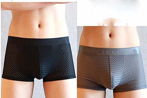 LSRHT 2-delig pakket heren onderbroek plat hoek bamboe katoen jeugd midden taille ijs zijde ademende boxer