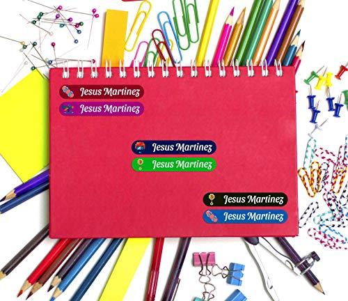 45 Etiquetas Adhesivas Personalizadas con Juguetes para marcar objetos, libros, fiambreras, etc. Medida 6 x 1 cm