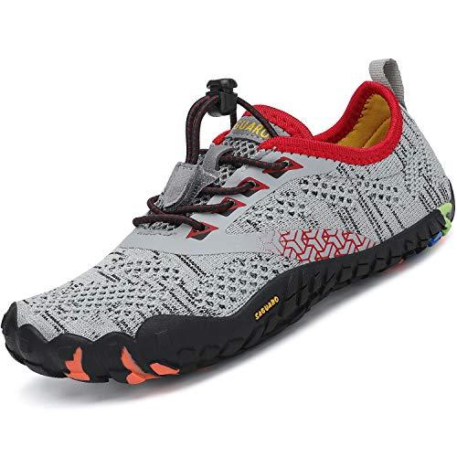 SAGUARO Calzado Descalzos Niños Zapatillas de Trail Niñas Transpirables Minimalistas Zapatos de Deporte Antideslizantes Fitness Correr en Asfalto Barefoot Zapatillas Senderismo Exterior Gris 27 EU