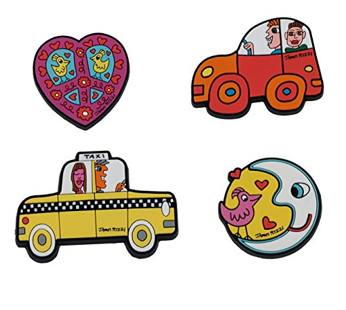 Goebel 4 Magnete , Kühlschrankmagnete James Rizzi, Car Taxi Moon Heart