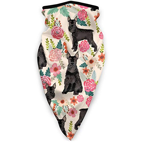 Schnauzer Perro Floral Negro Perro – Crema Cuello Polaina Diadema para Hombres y Mujeres, Pañuelo multifuncional para la cabeza, Deportes al aire libre
