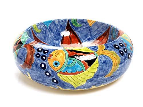 Delmar – Lavabo da appoggio blu dal Messico, Lavabo colorato Talavera dipinto a mano