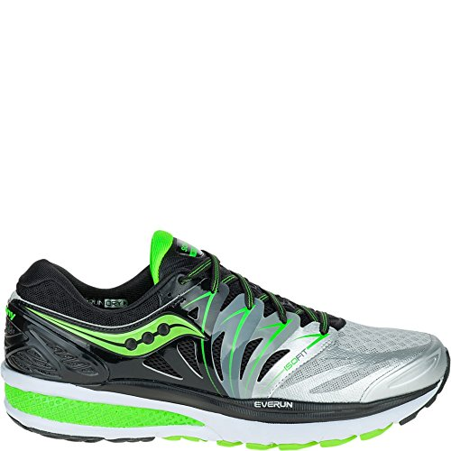 Saucony Men's Hurricane ISO 2 Running Shoe, Black/Silver/Slime, 9 M US