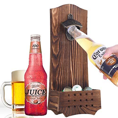 Abridores de botellas de cerveza vintage de madera montado en la pared con abridor de tapa de hierro herramienta para cocina, bar, regalos para hombres amantes de la cerveza