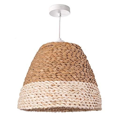 Deckenlampe LED Pendelleuchte Wohnzimmer Und Schlafzimmer, Gras, Deko E27, Lampenschirm:Natur/Weiß (Ø34 cm), Lampentyp:Pendelleuchte Weiß