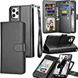 Tekcoo Wallet Case for iPhone 11 Pro Max (6.5 inch) 2019 Luxury ID Cash Credit Card Slots Holder Carrying Pouch Folio Flip PU Leather Cover [Detachable Magnetic Hard Case] Lanyard - Black
