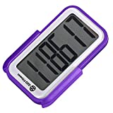 OZO Fitness CS2 Pedometer for Walking | Step Counter with Clip on, Large Display & Lanyard (Purple)