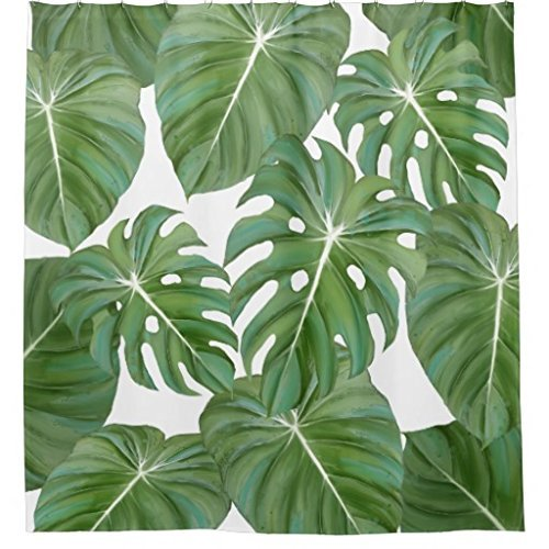 ZiChuangD Tropical Philodendron Elephant Ear Leaves Leaf Art Shower Curtain by ZiChuangD