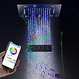hm Musicale Système de douche,400x400 mm multifonctions avec température constante Colonne de Douche,Spray spa, pluie, acier...