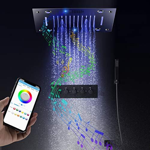 hm Musik Duschsystem,5 Funktion RGB Musikdusche mit konstanter temperatur,400x400 mm Regenduschset mit,Spa spray, Regen,304 Edelstahl, Duscharmatur,Handbrause