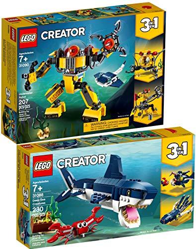 Creator Lego 3-in-1 2er Set 31088 31090 Bewohner der Tiefsee + Unterwasser-Roboter