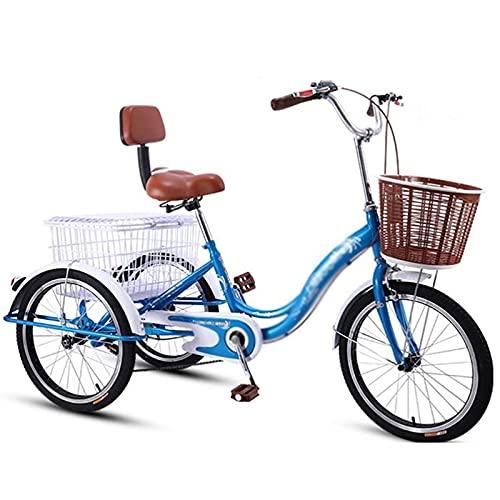 Triciclo para adultos bicicleta Bicicleta Adulta 20 Pulgada De Triciclo Adulto Con La Cesta De Las Compras Y El Respaldo Del Asiento Tres Ruedas Crucero Bicicleta Para Personas Mayores, Mujer(Color:B)