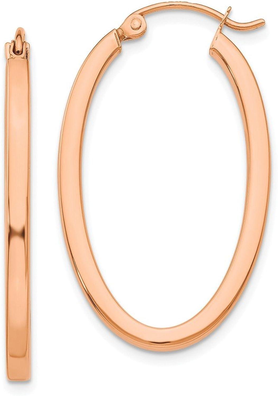 Beautiful pink gold 14K 14k pink gold Polished Oval Tube Hoop Earrings