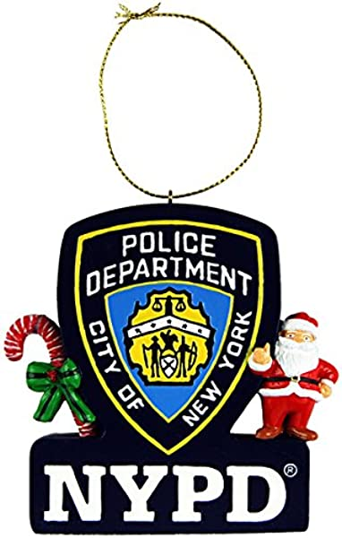 CityDreamShop NYPD Official Shield Christmas Ornament Featuring Santa And Candy Cane
