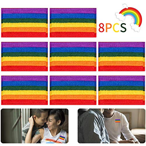 Alphatool 8pcs LGBT Pride Rainbow Flag Patch- Gay Pride Lesbian Embroidered Iron On/Sew On Appliques Patch Morale Emblem with Hot Glue Design for Hat Cap Polo Backpack Clothing Jacket Shirt