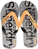 Superdry Scuba Grit Flip Flop Chanclas Hombre, Multicolor (Fluro Orange/Black/Grey Grit X2a), 44/45 EU