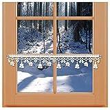 kollektion MT Winter-Feenhaus-Spitzenkante Seiffener Kirche 11cm Natur aus echter Plauener Spitze mit Wintermotiven Kirche, Glocken und Herzen