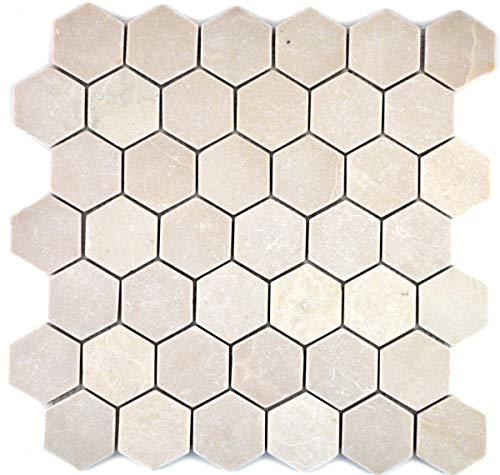 Mozaïek tegel marmer natuursteen beige Hexagon Marmer Botticino Anticato MOS42-1212