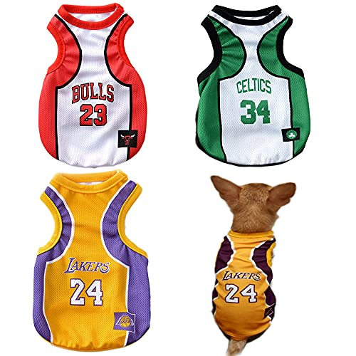 3Pack Dog Clothes for Small Dog Girl Puppy Clothes for Chihuahua Yorkies Bulldog Clothes for Medium Dogs Boy Basketball Jersey Pet Outfits Dog Shirt Apparel Accessories (Small)