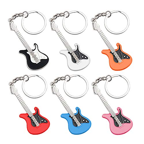 6 stücke Gitarre Anhänger Schlüsselanhänger, Musik Instrument Silber Anhänger Schlüsselanhänger, Auto Schlüsselanhänger Handtasche Tasche Anhänger Dekoration Geschenk Schlüsselbund