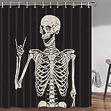 JAWO Rock and Roll Totenkopf Skelett Knochen Liebe Musik Duschvorhang Set Sugar Candy Tag der auf schwarzem Hintergr& Badezimmer Sets, Stoff-Duschvorhang Haken enthalten, 178 cm