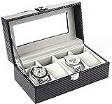 OH Mire el Cuadro de Alenamiento 4 Reloj Caja de Alenamiento Pu Cuero de la Fibra de Carbono Caja de Reloj de Joyería de Terciopelo Caja de Exhibición Moda/Negro/Small