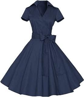 Womens Polka Dot Dresses,50s Style Short Sleeves Rockabilly Vintage Dress