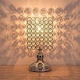 lámpara de mesa moderna, Lámpara de mesilla de cristal Lámpara de mesa moderna cristal K9 con marco de metal para dormitorio, sala de estar, comedor, plata