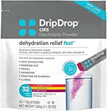 DripDrop ORS – Patented Electrolyte Powder for Dehydration Relief Fast - For Workout, Hangover, Illness, Sweating & Travel Recovery - Watermelon, Berry, Lemon Variety Pack - 32 x 8oz Servings