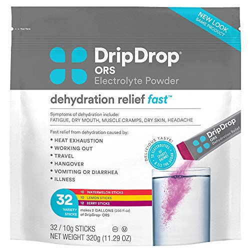 DripDrop ORS - Electrolyte Powder For Dehydration Relief Fast - For Workout, Hangover, Illness, & Travel Recovery - Watermelon, Berry, Lemon Variety Pack - 32 x 8oz Servings