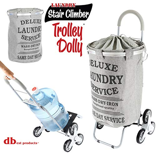 dbest products Stair Climber Laundry Trolley Dolly, Grey Laundry Bag Hamper Basket cart with wheels sorter