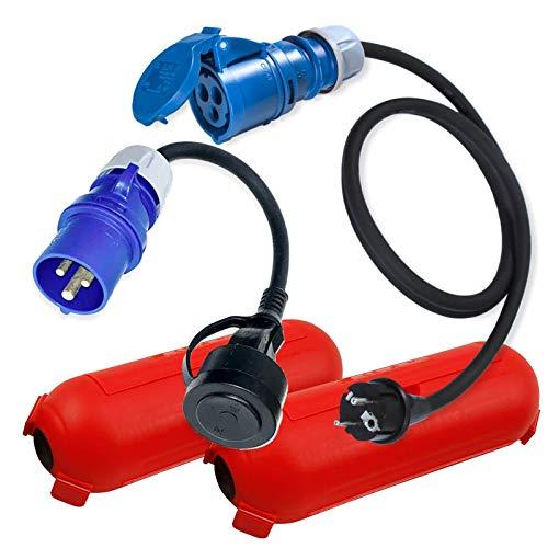CEE Adapter Kabel Stecker Kupplung Schutzbox Set Rot Camping Boot Wohnmobil Garten H07RN-F 3x2,5mm² 230V 16A Stromadapter 1,5m u. 0,3m