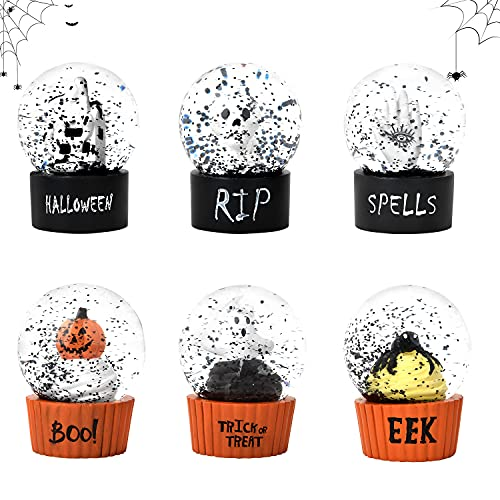 Lvydec Halloween Snow Globe Decorations, Set of 6 Small Water Glitter Snow Globes with Mini...