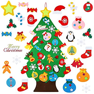 Felt Christmas Tree - 3.12 FT 3D DIY Set for Kids with 30 Pieces of Ornament Decor, Wall Hanging Christmas Tree Decorations