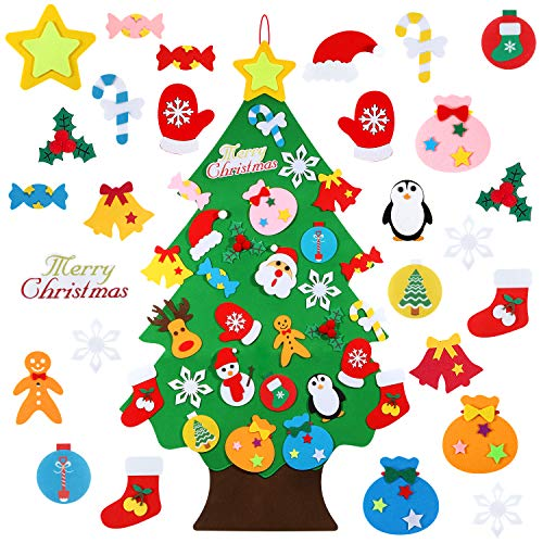 TOBEHIGHER Felt Christmas Tree - 3.12 FT 3D DIY Set for Kids with 30 Pieces of Ornament Decor, Wall Hanging Christmas Tree Decorations