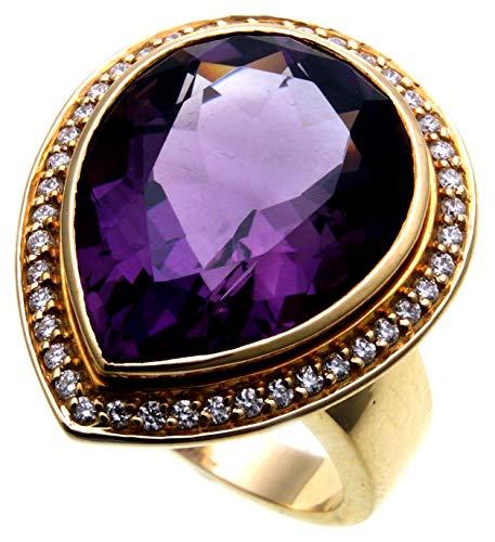 Mujer Anillo Amethyst Oro de 750Brillant 0,42ct Si Diamante Grande Oro Amarill