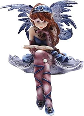 4 Inch Purple Fairy Sitting and Reading a Book Statue Figurine