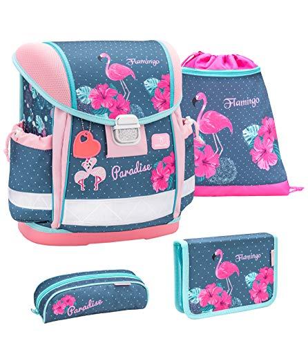 Belmil Schulranzen Set 4 - teilig ergonomischer Schulranzen Mädchen 1. klasse 2. klasse 3. klasse - Super Leicht 860-950 g/Grundschule/Flamingo/Blau (403-13 Flamingo Paradise)