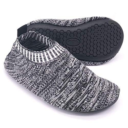 Kids Toddler Slipper Socks with Rubber Sole Non-Slip Knit Lightweight House Slippers for Boys Girls Black
