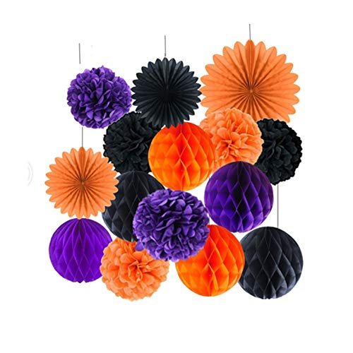 Kungfu Mall 15 PCS Halloween Decorations Hanging Pom Poms Honeycomb Balls Garland Tissue Paper Fan Flower for Wedding Birthday Decorations Party Supplies(Black,Orange,Purple)