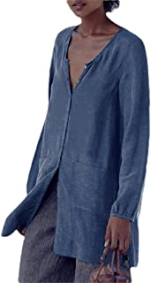 Women V-Neck Button Down Loose Fit T Shirts Long-Sleeves Linen T Shirts