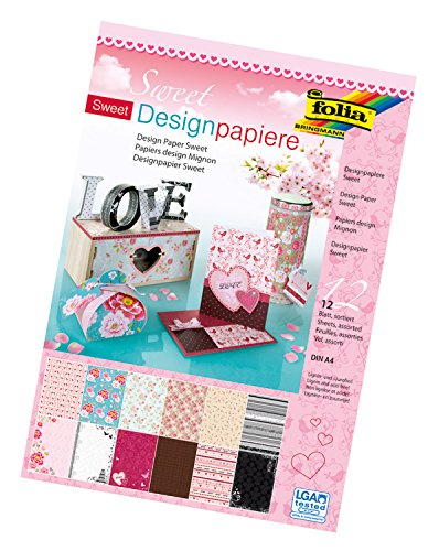 folia 11249 - Designpapier Block Sweet, DIN A4, 165 g/qm, 12 Blatt sortiert in 12 verschiedenen Motiven, hochwertig illustriertes Papier mit Glitterapplikation