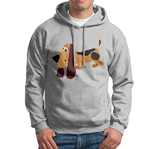 YaoJun-Hoodie Homme Funny Basset Hound Primitive Art Cross-Country Particular Casual Hoodie Hooded Sweatshirt Ash