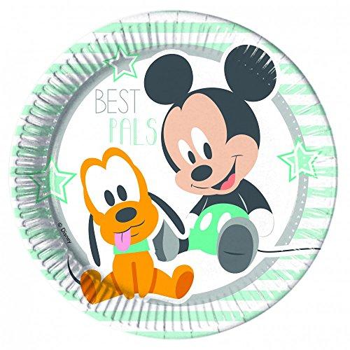 Ciao Procos 85587–Pappteller Baby Mickey & Donald, 8Stück, blau/weiß
