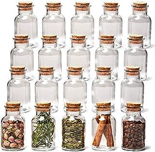 Annfly Lot de 20 mini bocaux en verre avec bouchon en liège pour loisirs créatifs, décoration de mariage et de jardin (40 ml)